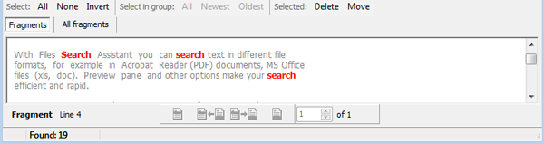 Preview search results without opening documents one by one