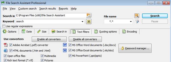 Find text in files of various formats: PDF, Word, Excel, PowerPoint, even password protected documents.