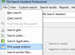 Free disk space usage analysis feature in File Search Assistant