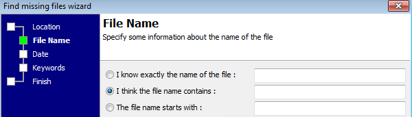 Missing file wizard: enter missing file name