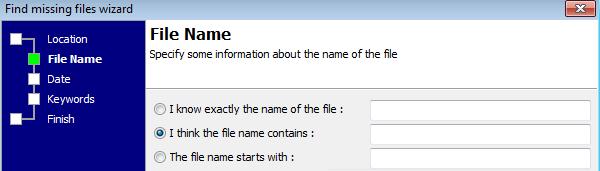 Missing file wizard: enter missing file name