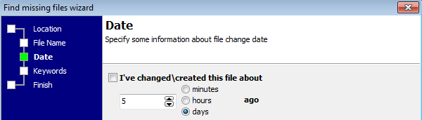 Missing file wizard: specifing the date for the file