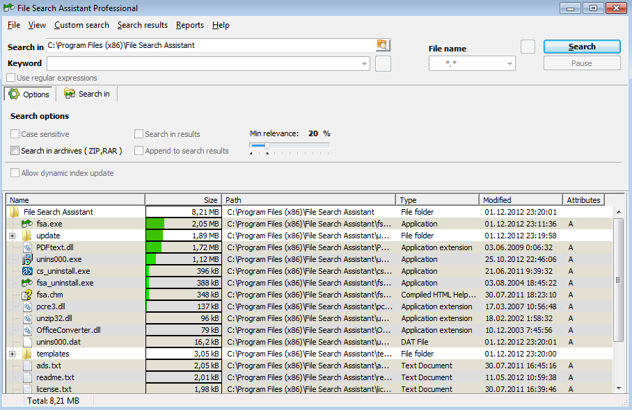 An example of the disk space usage analysis in File Search Assistant