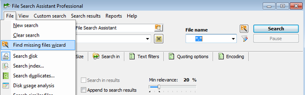Search missing files wizard in File Search Assistant