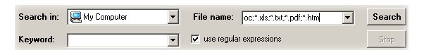 "Put  *.htm  mask in ""File Name"" field. You will tell FSA to search only for htm files."